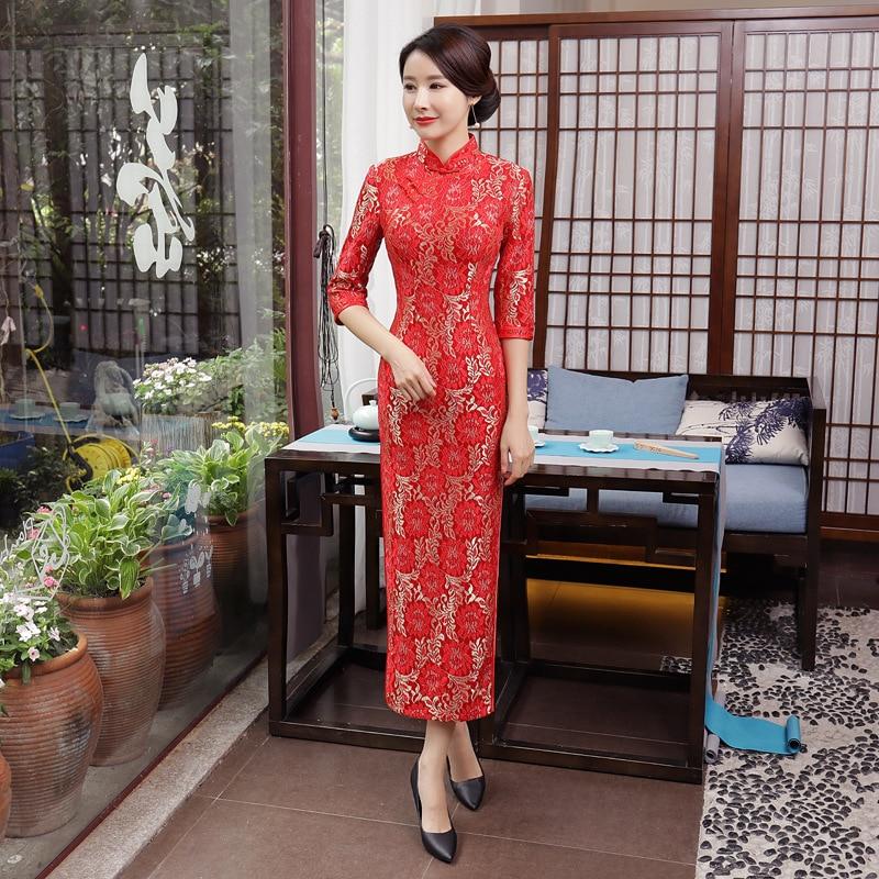 Oversize 3XL 4XL Asian Woman Vintage Qipao Chinese Bride Wedding Evening Party Dress Lace Flower Slim Long Cheongsam Vestidos