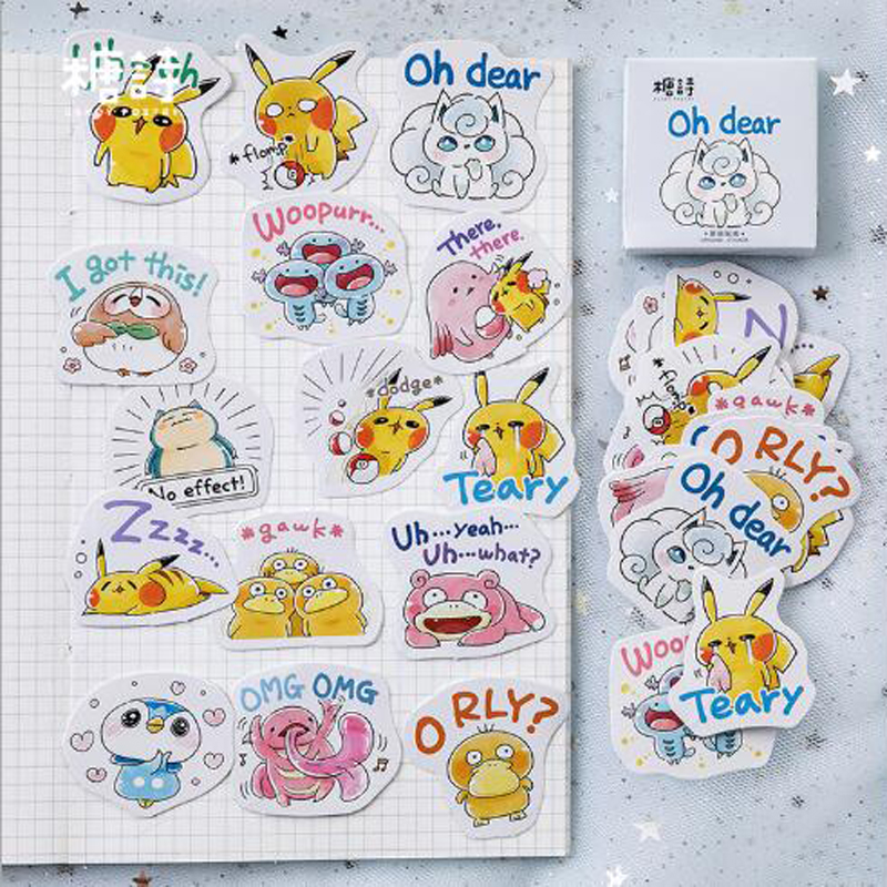 45pcs/box Kawaii Pokemon Pikachu Decorative Bullet Journal Stickers Adhesive Stickers DIY Decoration Diary Stationery Stickers