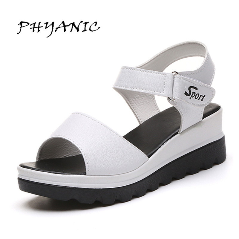 PHYANIC 2017 Summer Women Sandals Platform Wedges Sandals Hook & Loop High Heels Shoes Woman Thick Bottom White Sandals PHY5183 phyanic bling glitter high heels 2017 silver wedding shoes woman summer platform women sandals sexy casual pumps phy4901