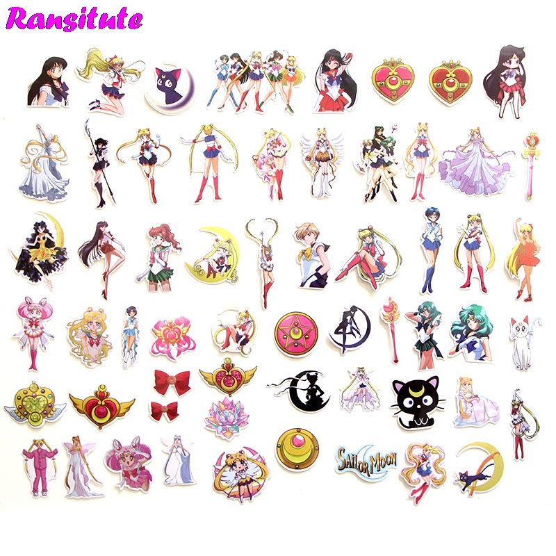 R172 56pcs/set Sailor Moon Anime Cartoon Sticker DIY Luggage Laptop Skateboard Motorcycle Bike Sticker