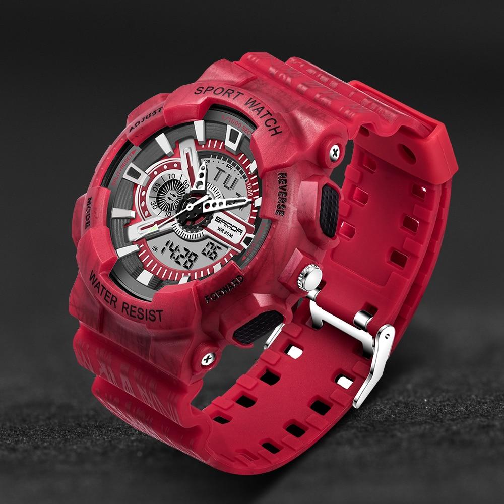 Sanda Digital Sports Watch  30 Waterproof  Shock Style Colorful Business Men Women Outdoor Analog Alarm Military G Watches