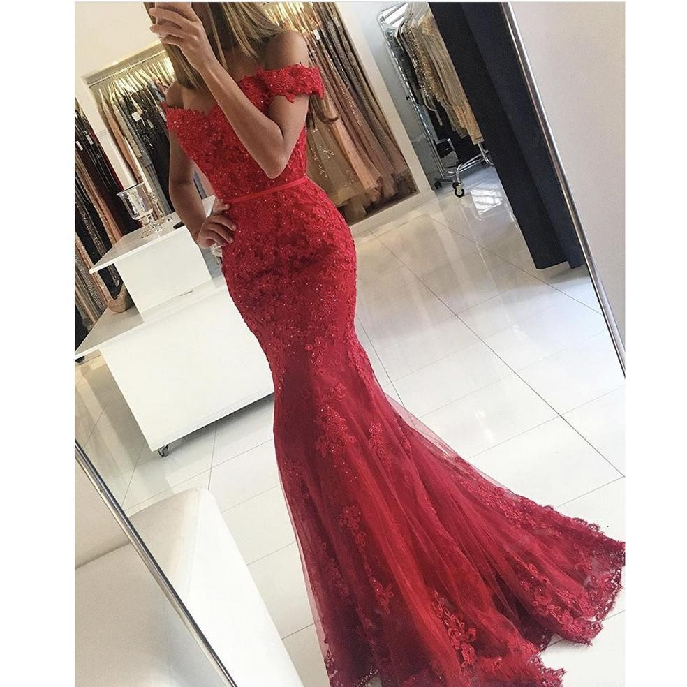 Red   Prom     Dresses   RObe de Soiree 2019 Off Shoulder Long Mermaid Evening   Dress   Wear