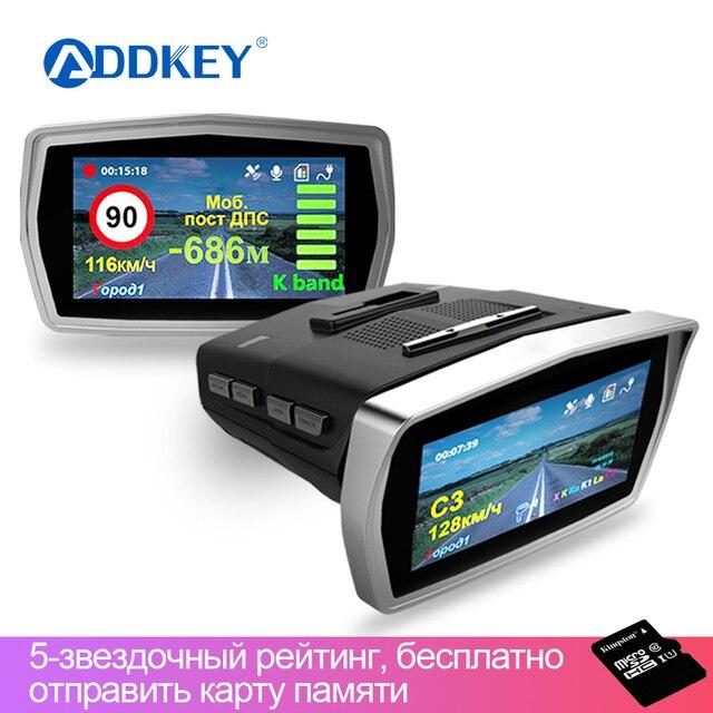 ADDKEY D096 Ambarella A7 Car DVR Camera Radar Detector Gps 3 in 1 LDWS 1296P Video Recorder Registrar Dashcam Russian Language