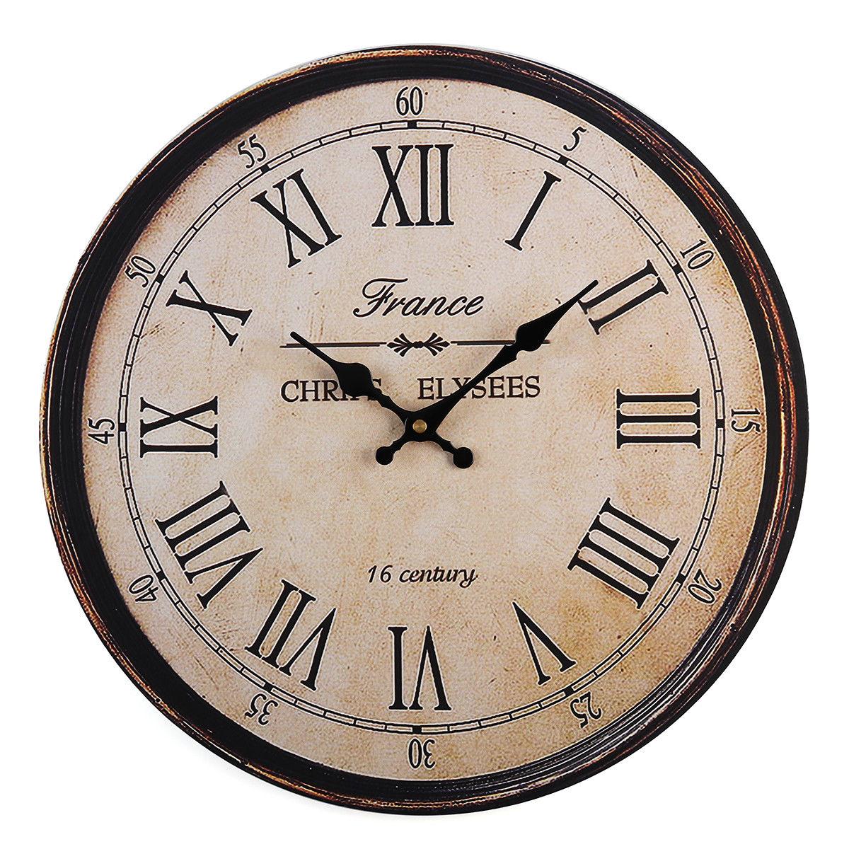 Vintage 40cm Wooden Wall Clock Large Art Round Roman
