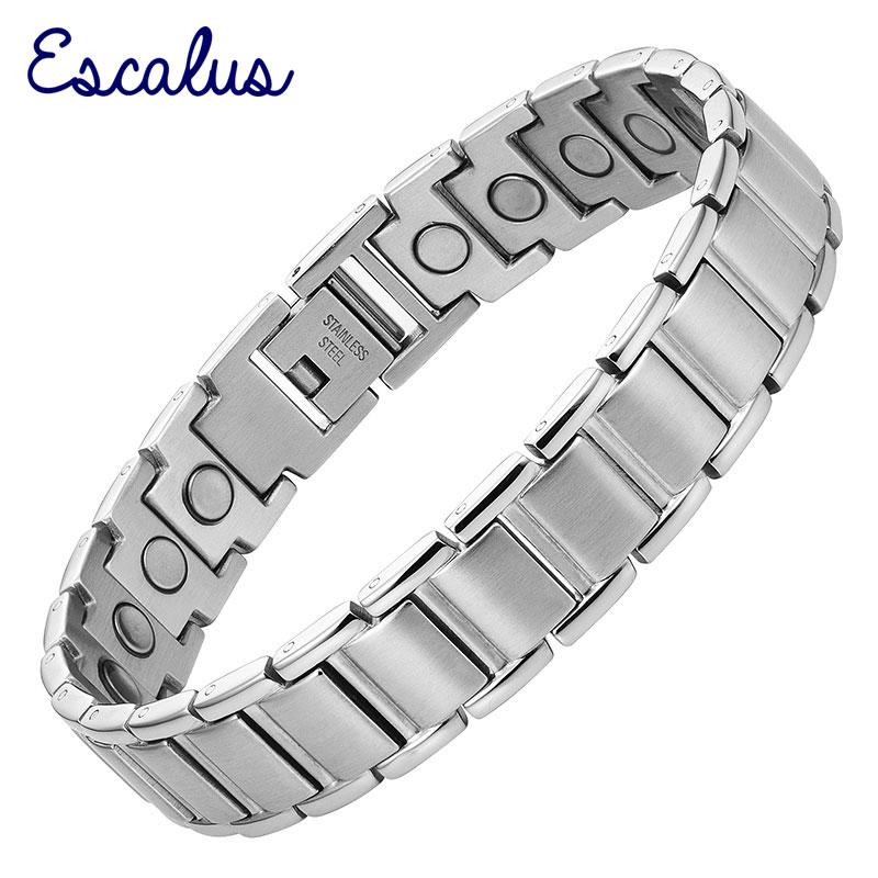 Escalus Magnetik Argjendë me Ngjyra Argjendë Burra Rrathë Stainless Steel Magnets Charm Wristband Health Bio Bizhuteri Zotërinj Bangle