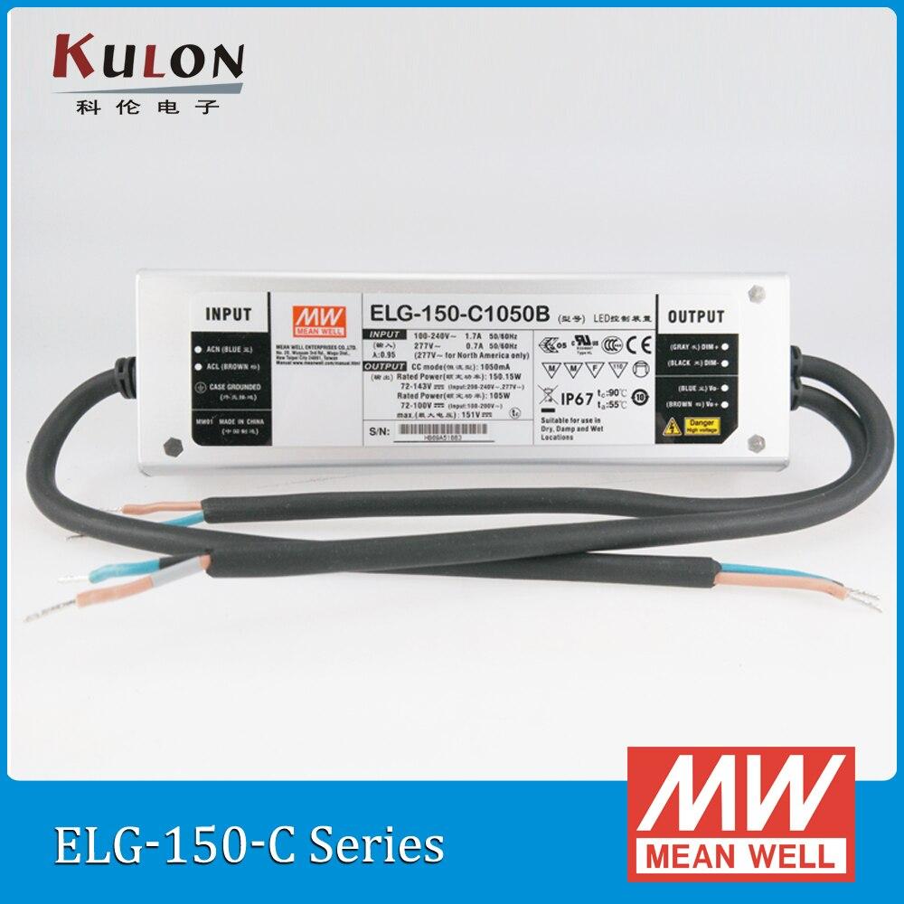 Original MEAN WELL ELG-150-C2100B 2100mA 36~72V 150W PFC LED Power supply IP67 dimming led driver ELG-150-C waterproof цена