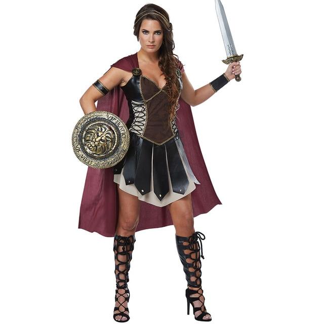 למבוגרים נשים רומי נסיכת זינה גלדיאטור תלבושות ליל כל הקדושים קרנבל המפלגה Spartan 300 לוחמי חייל קוספליי תלבושת