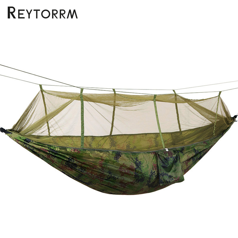 Outdoor Hammock With Mosquito Net Can Hold 300kg Super Strong Hanging Hamak For Hiking Climbing Travel Camping Hamac 2 people portable parachute hammock outdoor survival camping hammocks garden leisure travel double hanging swing 2 6m 1 4m 3m 2m