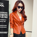 2017 Spring New Women's PU Leather Blazer Jacket Long Sleeve Short Small Suit Jacket Female Coat Plus Size Leather Blazers C2972