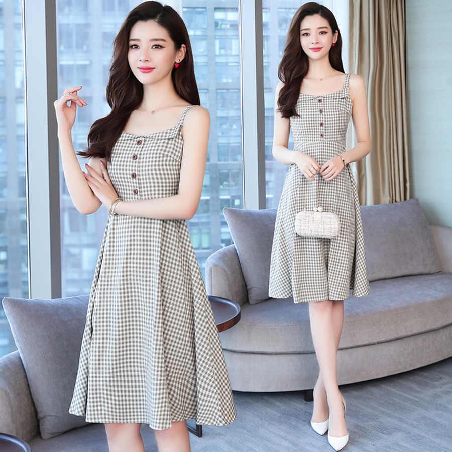 2019 Корейский Новый Плюс Размер Бохо сексуальный миди сарафан летние винтажные клетчатые шикарные пляжные платья элегантные женские облегающие вечерние платья