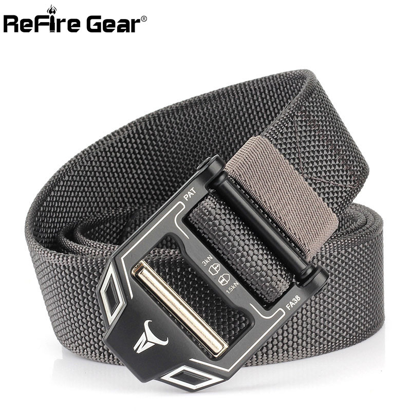 ReFire Gear Army SWAT Combat Tactical Belt Men Metal Buckle Military Equipment Combat Belt Quick Release Sturdy Nylon Waist Belt