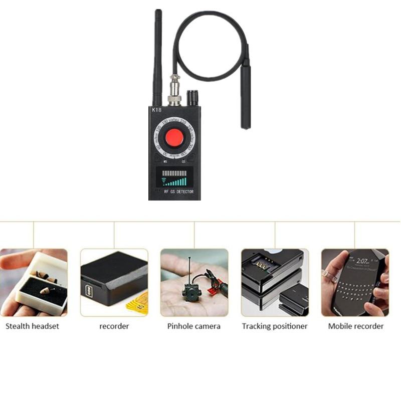 K18 Multi-function Anti-spy Detector Camera GSM Audio Bug Finder GPS Signal Lens RF Tracker Detect Wireless Products EU/US Plug