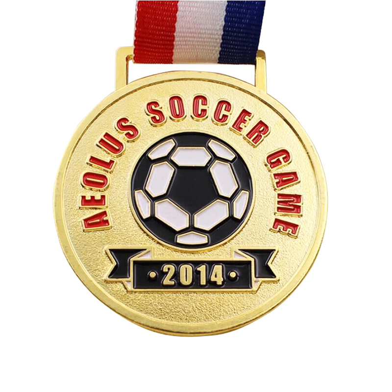 soccer game medals cheap custom sports medal high quality plating gold  medals with enamel color