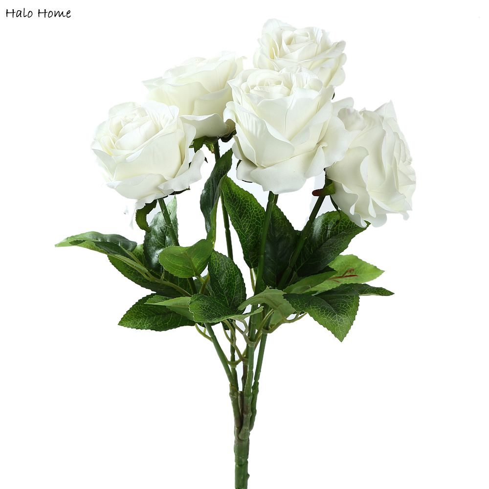 1 bunch silk artificial flower white rose for party garden. Black Bedroom Furniture Sets. Home Design Ideas
