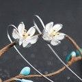 S925 hand-made Chiang mai original design wire lotus flower earrings wiredrawing eardrop drop earrings