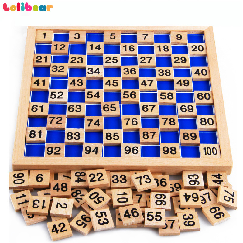 Montessori Education Wooden Toys 1-100 Numbers Digit Cognitive Math Toy Teaching Logarithm Version Kid Early Learning Gift