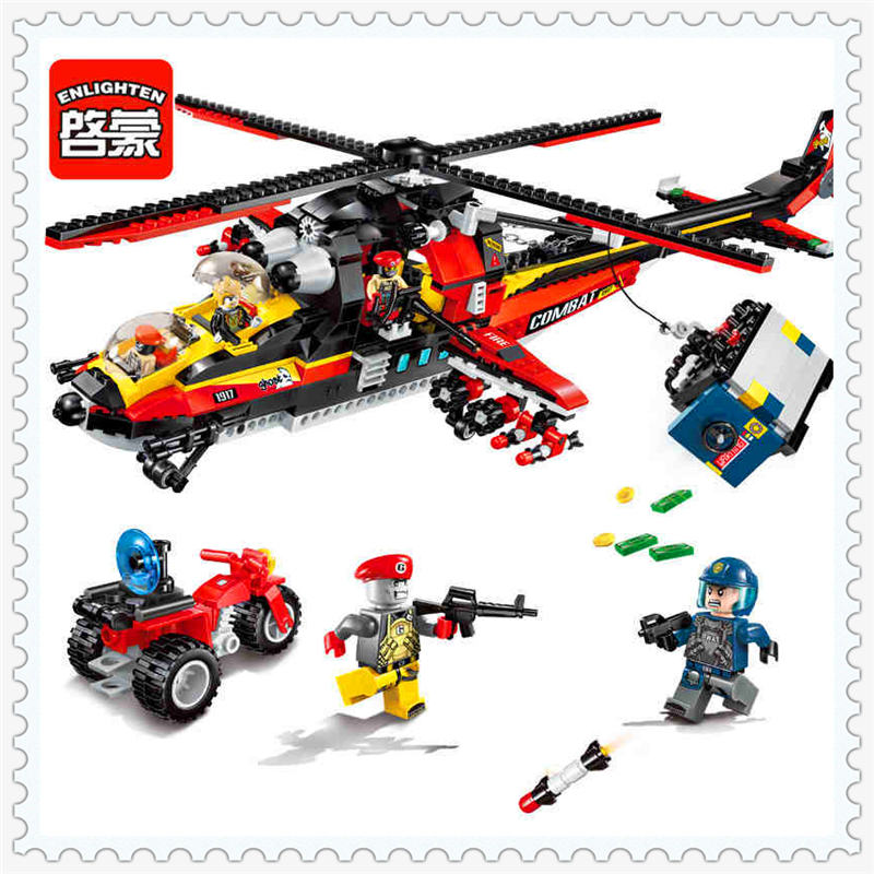 ENLIGHTEN 1917 City Police Ghost Helicopter Model Building Block 654Pcs Educational  Toys For Children Compatible Legoe decool 3117 city creator 3 in 1 vacation getaways model building blocks enlighten diy figure toys for children compatible legoe