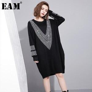 Image 2 - [EAM] 2017 סתיו החורף עגול צוואר שרוול ארוך מוצקה צבע שחור diamoned JC33201 גאות אופנה נשים רופפת גודל גדול