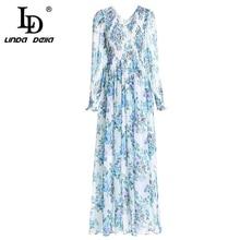 LD LINDA DELLA Fashion Runway Vacation Maxi Dresses Womens Long Sleeve V-Neck Floral Print Casual Boho Holiday Dress