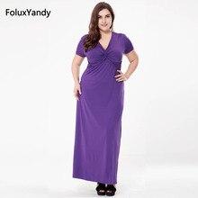 купить Casual V-neck Short Sleeve Women Long Dress Plus Size 3 4 5 6 XL A-line Summer Dress Vestidos SQN11 по цене 1466.42 рублей