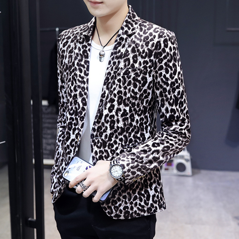Mens Casual Jacket Suits Blazer Stage Performance Men Slim Coat Fit Dress Leopard Print Velvet Thin Suit Blazer Men