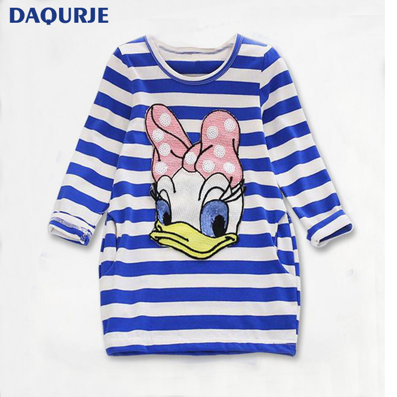 New Girls Clothes autumn casual dresses Kids Long-Sleeve Cartoon Stripe Children Dress Girl Donald Duck rabbit 2-8Y Clohting fashion 2016 new autumn girls dress cartoon kids dresses long sleeve princess girl clothes for 2 7y children party striped dress