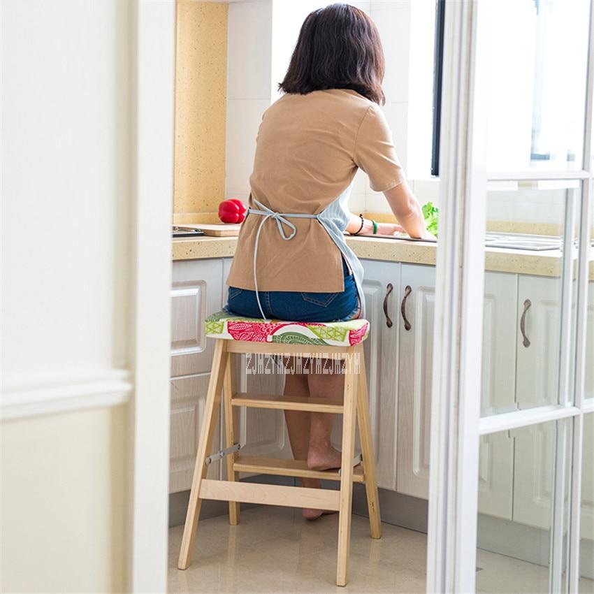 HLM-3006 créative en bois courbé échelle tabouret Simple cuisine étape tabouret multifonctionnel pliant en bois tabouret double usage Rack escalier