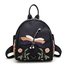 PU leather New Handmade Embroidery Dragonfly Lady Backpack Fashion Design 3D Diamond Shoulder Bag Retro Female shoulder bag(China)
