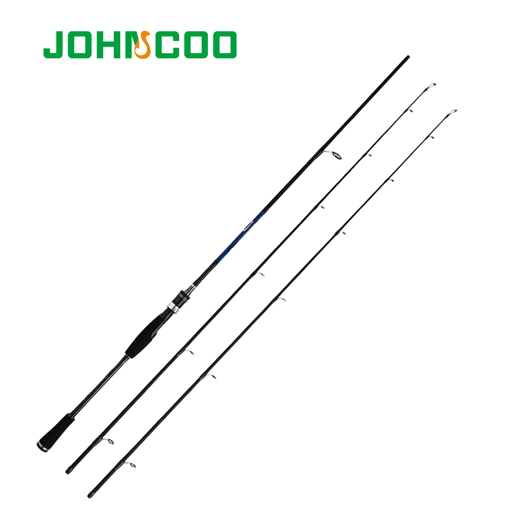 JOHNCOO Casting Spinning Fishing Rod 1.8m 2.1m 2.4m Power M MH Carbon Rod Pole 2 Section Fiber Baitcasting Fishing Rod