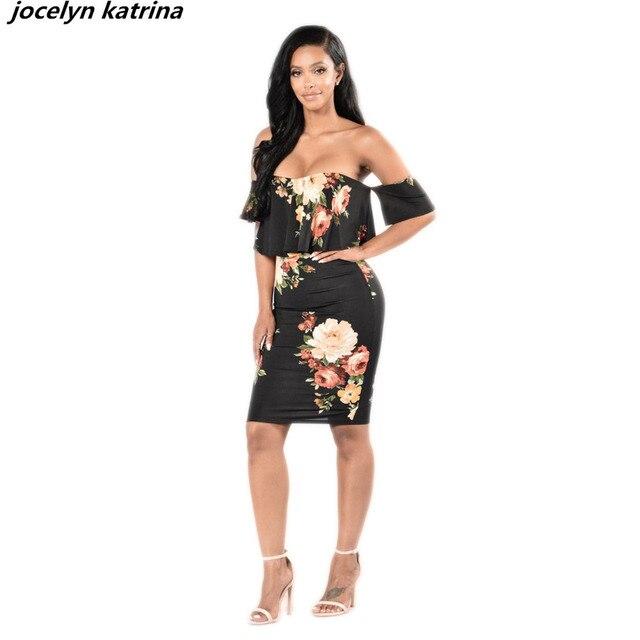 cc2a1d0aa2 Jocelyn katrina marki druku Seksowne Sukienki Vestidos Sundress Boho Beach  dress Backless Kwiat bodycon Kobiety Sukienka