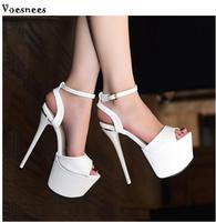 New Women shoes Sandals Steel Pipe Dance Shoes Super High Heel 17cm Peep Toe Buckle Strap Thick Soles Platforms Size 35 39