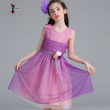 Kung Fu Ant 2018 Girl Clothes Princess Dress Chiffon Floral Mesh Sleevees Kids Summer Costume Robe Fille L9061