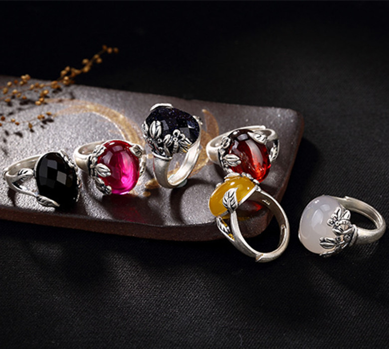 KJJEAXCMY Boutique jewelry S990 pure silver, yellow, white, jade, pomegranate, red black agate, blue sandstone, silver ring. kjjeaxcmy boutique jewelry s925 pure silver white yellow green chalcedony pomegranate red jade silver antique simple
