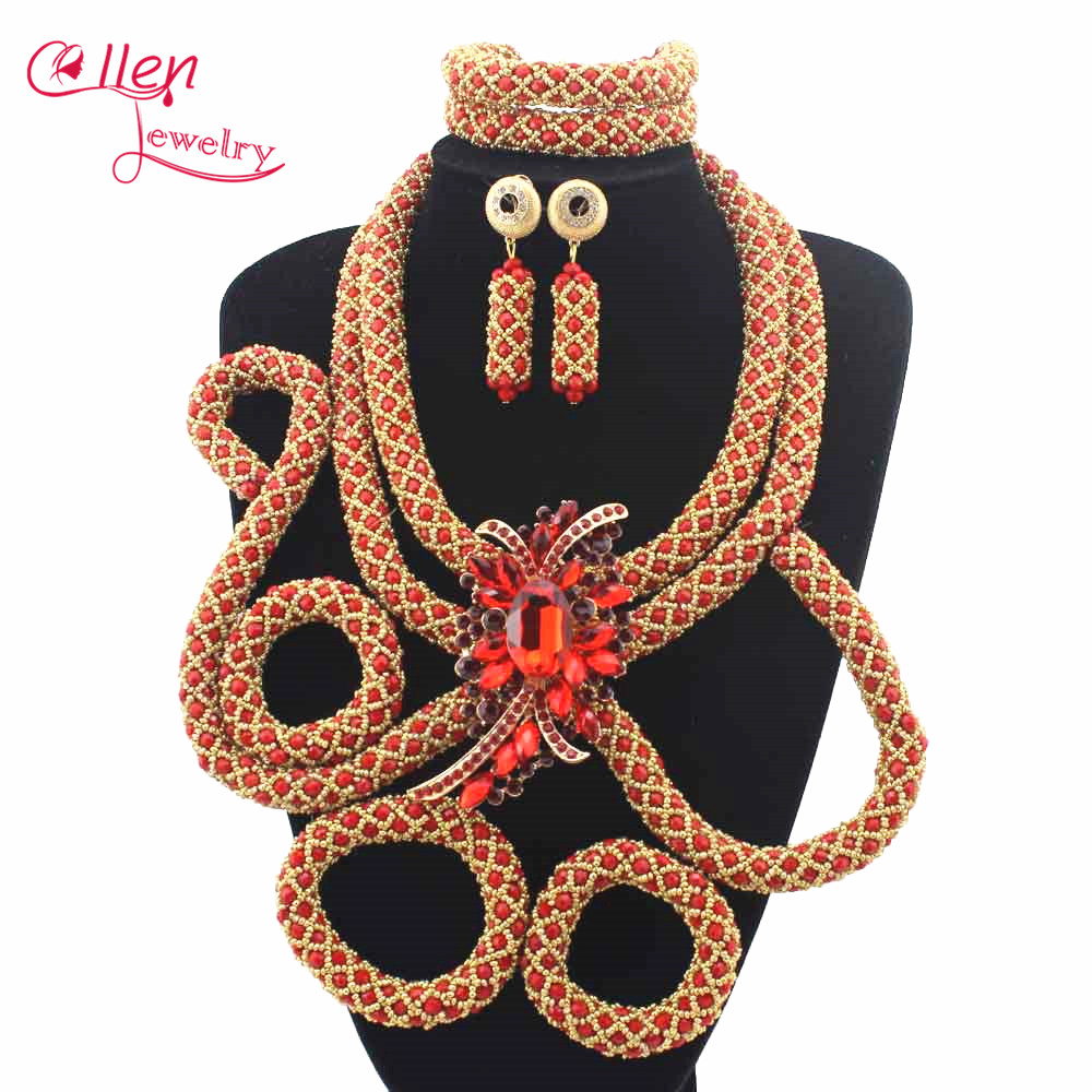 Nigerian Women Wedding beads Jewelry Sets For Bridal Indian African Beads jewelry set Costume Necklace Set Free Shipping E1105Nigerian Women Wedding beads Jewelry Sets For Bridal Indian African Beads jewelry set Costume Necklace Set Free Shipping E1105