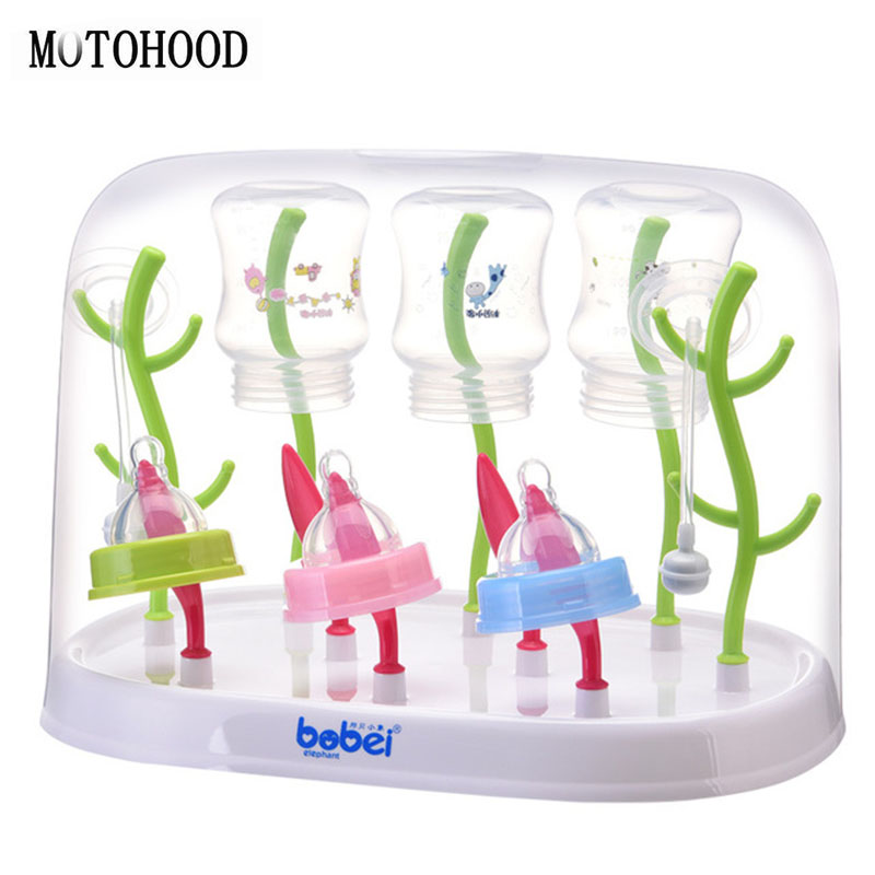 MOTOHOOD Antibacterial Baby Bottle Drying Rack Baby Bottle Holder Healthy Safe Material Drain Bottles Rack With Cover
