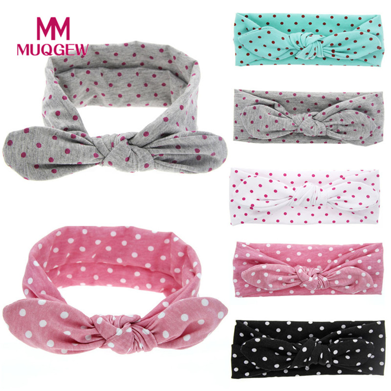 MUQGEW Promotion 1 PC Fashion Kids Girl Rabbit Ears Hair Ornaments Tie Bow Headband Hair Hoop Stretch Knot Bow Cotton Headbands pinup rockabilly special retro atmosphere beautiful generous banquet hoop rabbit ear