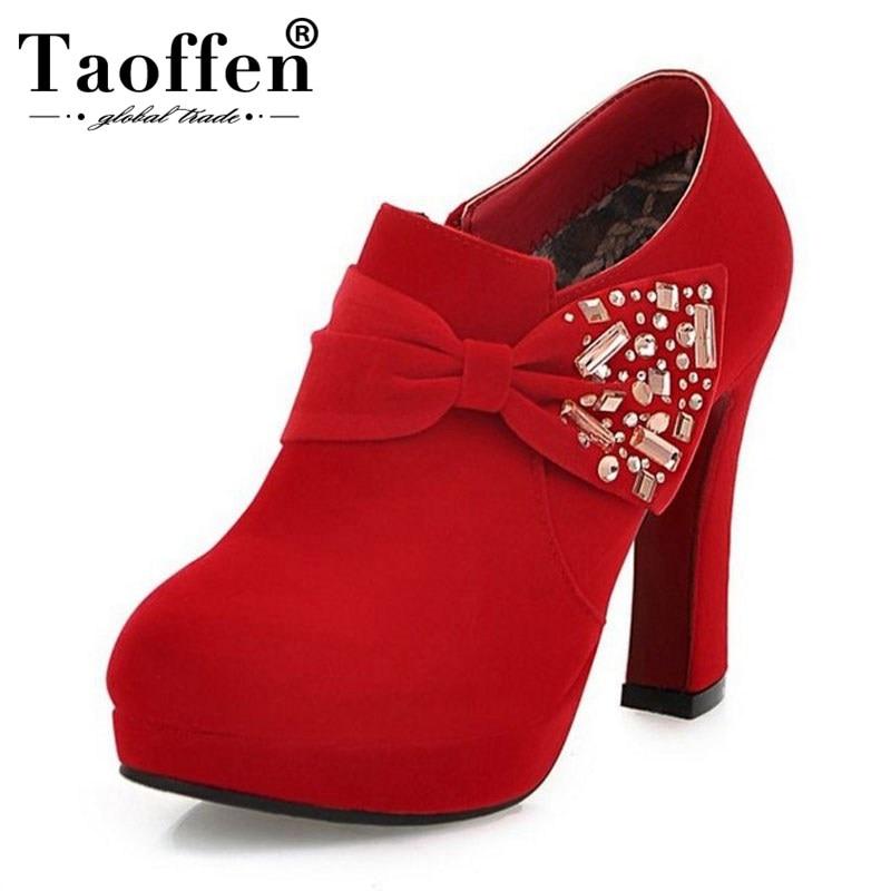 TAOFFEN Women High Heel Pumps Round Toe Zipper Bow Not Bling Platform Shoes Woman Mature Shoes Party Office Footwear size 37 39