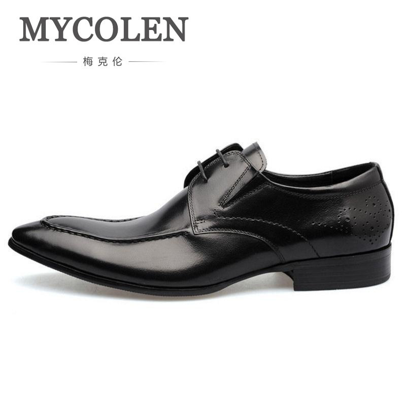 MYCOLEN Winter Derby Shoes Genuine Leather Men Shoes Business Formal Comfortable Personality Men Wedding Shoes Chaussures Homme derby day
