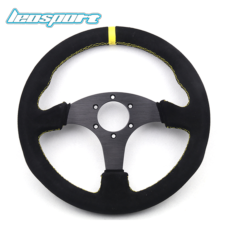 high quality 13 (330mm) For OMP Racing Steering Wheel black suede leather yellow or red stiching game flat Steering Wheel