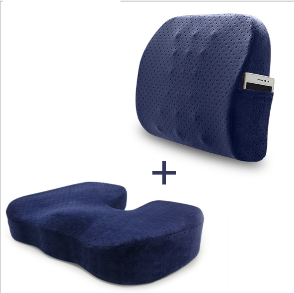 Seat Cushion Coccyx Orthopedic Memory Foam and Lumbar Support Pillow Set of 2