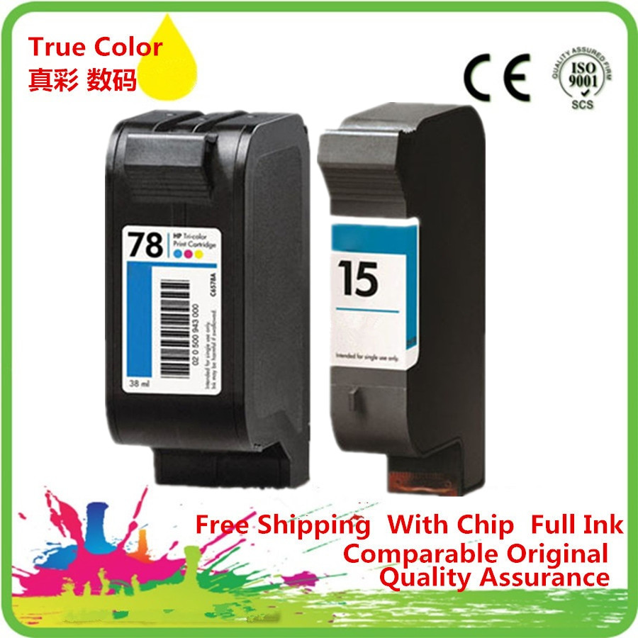 Ink Cartridges Remanufactured For 15 78 15XL 78XL HP15 HP78 HP15XL HP78XL 6578D Officejet K80 K80xi V40 V40xi V45 Fax