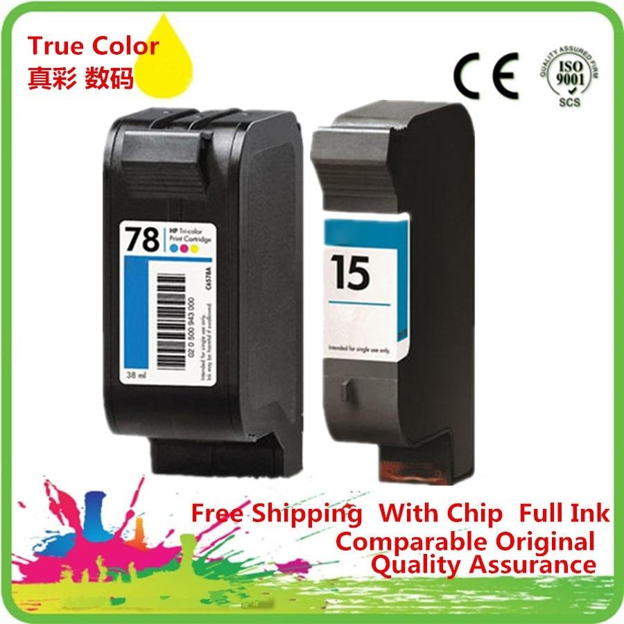 Ink Cartridges Remanufactured For 15 78 15XL 78XL HP15 HP78 HP15XL HP78XL 6578D Officejet K80 K80xi V40 V40xi V45 Fax