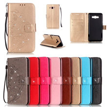 ФОТО luxury bling diamond book style pu leather flip butterfly case cover for samsung galaxy j1 j2 j3 j5 j7 2016 phone bags+strap