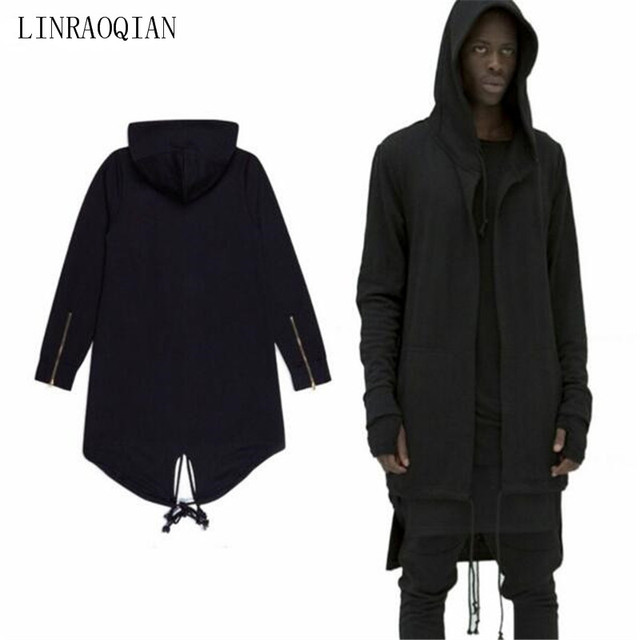 Black Big Hood Hoodie for man woman, Black oversized zip hoody, Black long hooded jacket with pockets, Hooded sweatshirt, Gothic clothing