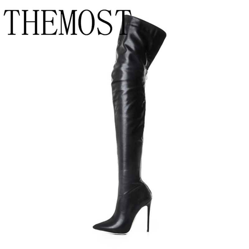 THEMOST 2018 Dame Sexy De Mode Haute Hentian Haute Cuisse Bottes Chaussures Noir Botas Femininas De inverno taille 33-48 zapatos de mujer