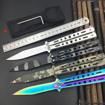 5Cr13Mov нож из нержавеющей стали нож для тренировки Бабочка нож игровой инструмент нож тусклый инструмент без края Бесплатная доставка