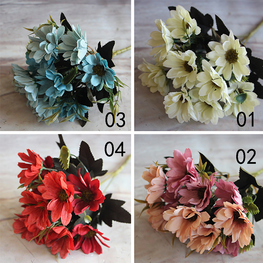 Retail 6 Branches 10 Head Floral Artificial Flower Bouquet Silk