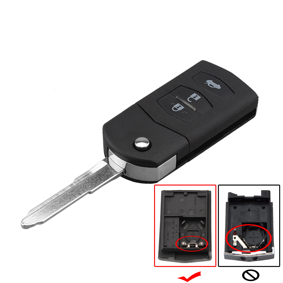 3 Button Remote Flip Key Shell Case For MAZDA 2 3 5 2003 2004 2005 20006 2007 2008 20009 2010 2011 2012 2013 Folding Car Key Fob image