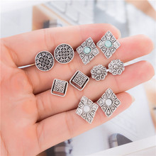5 Pairs/set Vintage Square Flower Stone Carved Stud Earrings Set Fashion Statement Piercing Jewelry For Women boucle doreille