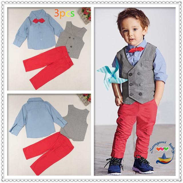 Niños hermosos sistemas de la ropa del caballero del Muchacho 4 unids traje set Kids clothes set de manga larga t-shirts + chaleco + Pantalones + pajarita